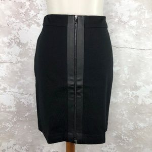 Ann Taylor Black Front Zip Faux Leather Skirt 2